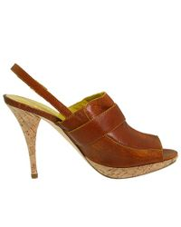 Bettye Muller | Natural Leather Callback Cork Slingbacks | Lyst
