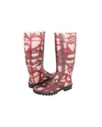 Burberry | Pink Heart Check Print Rain Boot | Lyst