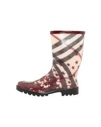 Burberry - Purple Printed Star Ankle Rainboot - Lyst