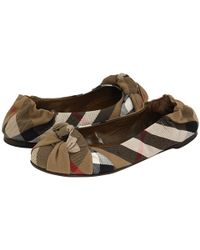 Burberry - Brown Check Knotted Ballet Flats - Lyst