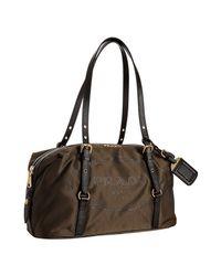 Prada | Black Burnt Logo Jacquard Nylon Medium Bag | Lyst