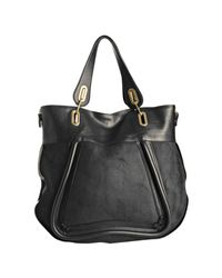 Chloé   Black Calfskin Leather and Suede Paraty Large Tote   Lyst