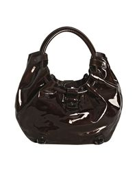 Ferragamo - Brown Patent Annabella Gathered Handle Hobo Bag - Lyst