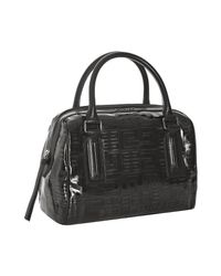 Givenchy | Black Vinyl Logo Print Small Boston Bag | Lyst