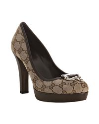 Gucci - Natural Beige Gg Canvas Stirrup Detail Platform Pumps - Lyst