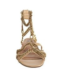 Lanvin - Natural Sandal with Ankle Chain - Lyst