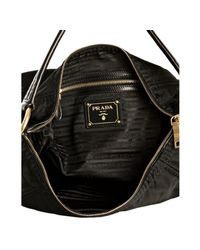 Prada - Black Nylon Logo Jacquard Hobo Shoulder Bag - Lyst