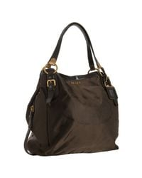 Prada | Ebony Brown Nylon and Lambskin Logo Shoulder Bag | Lyst