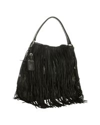 Prada | Gray Smoke Camouflage Nylon Leather Fringe Hobo | Lyst