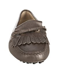 Tod's | Brown Metallic Chocolate Leather Heaven Fringe Driving Loafers | Lyst