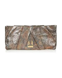 Halston | Metallic Alice Oversized Pleated Leather Clutch | Lyst