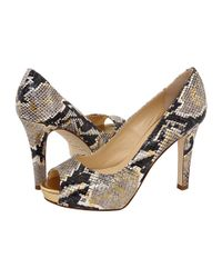 kate spade new york | Multicolor Gwen - Neutral Snake Printed Leather Open Toe Pump | Lyst