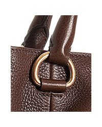 Prada - Brown Burnt Leather Logo Detail Tote with Crossbody Strap - Lyst