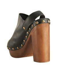 Jeffrey Campbell | Black Leather Charli Platform Slingback Clogs | Lyst