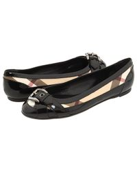 Burberry | Black Nova Check Ballerina with Buckle | Lyst