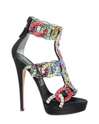 Casadei | Multicolor Crystal Embellished Sandal | Lyst