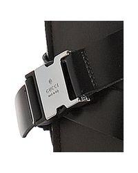 Gucci - Black Leather Gail Ankle Wrap Platform Sandals - Lyst