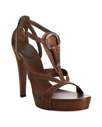 Gucci | Brown Cognac Leather Icon Bit T-strap Platform Sandals | Lyst