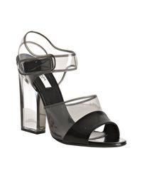 Prada | Black Leather and Pvc Detail Sandals | Lyst