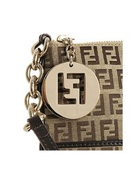 Fendi - Brown Beige Zucchino Canvas Small Messenger Bag - Lyst