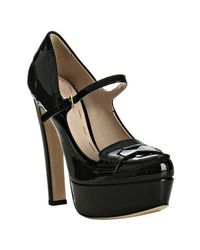 Miu Miu | Black Patent Mary-jane Platform Loafer Pumps | Lyst