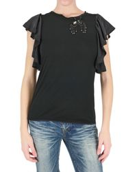 Space | Black Flare Sleeve Embroidered T-shirt | Lyst