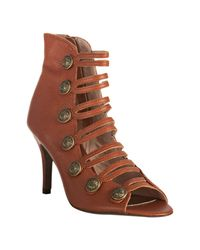 Steven by Steve Madden | Brown Cognac Leather Maiya Cutout Booties | Lyst