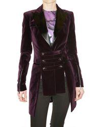 Versus | Purple Velvet Blazer with Strap Details | Lyst