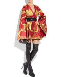 Alexander Mcqueen Lion Silk Jacquard Kimono Cape In Red Lyst