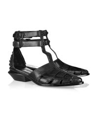 Alexander Wang | Black Jac Leather T-strap Sandals | Lyst