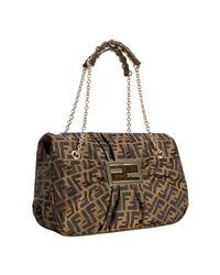 Fendi | Brown Tobacco Zucca Canvas Mia Pleated Chain Shoulder Bag | Lyst