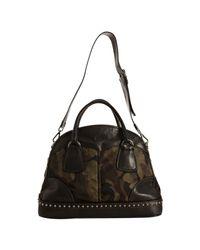 Prada - Green Camouflage Nylon Leather Trim Bowler Bag - Lyst