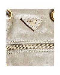 Prada   Gray Pumice Vitello Shine Calfskin Large Handbag   Lyst