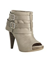 Vince Camuto | Gray Taupe Leather Flore Peep Toe Buckle Booties | Lyst