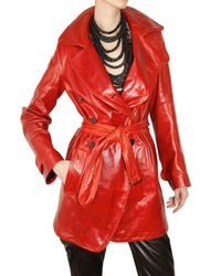 Ann Demeulemeester | Red Leather Trench Coat | Lyst
