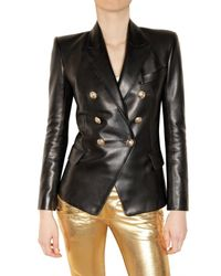 Balmain | Black Leather Double-breasted Jacket | Lyst