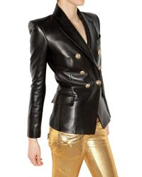 Balmain - Black Leather Double-breasted Jacket - Lyst