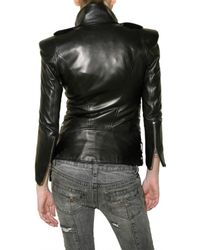 Balmain - Black Leather Motocross Jacket - Lyst