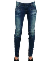 Balmain | Blue Stretch Demin Destroyed Quilted Jeans | Lyst
