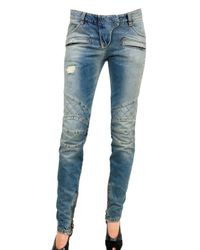 Balmain | Blue Stretch Quilted Cropped Leg Jeans | Lyst