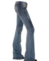 Balmain - Blue Washed Destroyed Flared Biker Jeans - Lyst