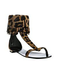 Balmain | Brown Leopard Calf Hair Fringe Detail Sandals | Lyst