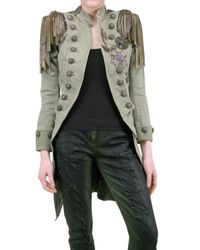 Balmain | Green Embellished Cotton-canvas Napoleon Coat | Lyst