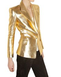 Balmain - Soft Metallic Nappa Leather Jacket - Lyst