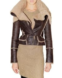 Burberry Prorsum | Brown Shearling Leather Jacket | Lyst