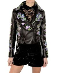 Christopher Kane | Black Embroidered Leather Biker Jacket | Lyst