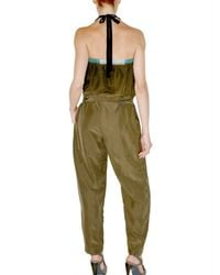 CoSTUME NATIONAL | Green Washed Silk Habotai Jumpsuit | Lyst