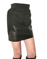 David Koma | Black Wool Felt and Leather Skirt | Lyst