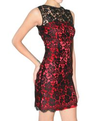 Dolce & Gabbana | Red Lace Overlay Dress | Lyst