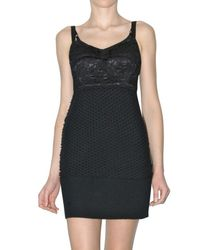 Dolce & Gabbana | Black Lace and Crochet Wool Bustier Dress | Lyst